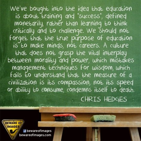 Chris Hedges We've Bought Into The Idea That Education Is About Training And Success Defined Monetarily Rather Than Learning To Think Critically And To Challenge We Should Not Forget That The True Purpose Of Educati
