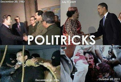 Politricks Saddam Hussein Muammar Gaddafi Donald Rumsfeld President Barack Obama
