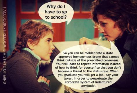 Why Do I Have To Go To School So You Can Be Molded Into A State Approved Homogenous Drone