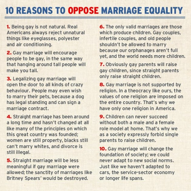 10 Reasons To Oppose Marriage Equality