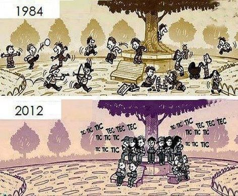 1984 2012 Children Playing Vs Texting