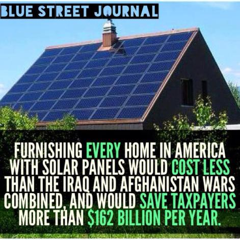 Blue Street Journal Furnishing Every Home In America With Solar Panels Would Cost Less Than The Iraq And Afghanistan Wars Combined And Would Save Taxpayers More Than $162 Billion Per Year