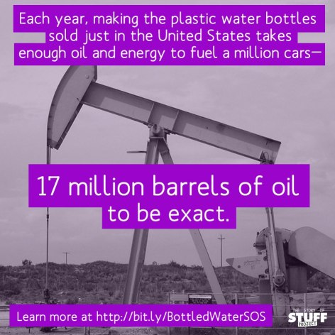 Each Year Making The Plastic Water Bottles Sold Just In The United States Takes Enough Oil And Energy To Fuel A Million Cars 17 Million Barrels Of Oil To Be Exact