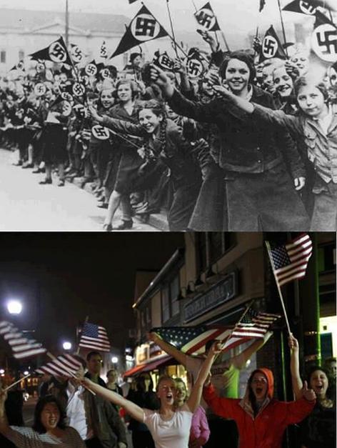 Flag Waving Citizens Nazi Germany USA