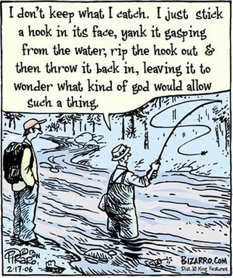 I Don't Keep What I Catch I Just Stick A Hook In Its Face Yank It Gasping From The Water Rip The Hook Out & Then Throw It Back In Leaving It To Wonder What Kind Of God Would Allow Such A Thing