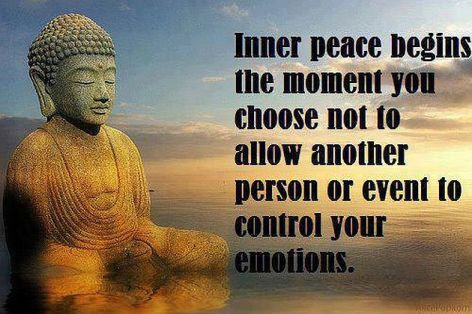Inner Peace Begins The Moment You Choose Not To Allow Another Person Or Event To Control Your Emotions