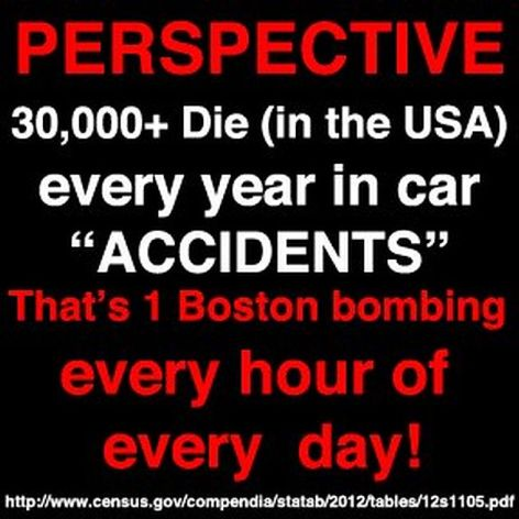 Perspective 30,000+ Die In The USA Every Year In Car Accidents That's 1 Boston Bombing Every Hour Of Every Day