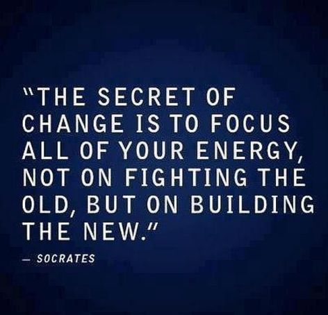 Socrates The Secret Of Change Is To Focus All Of Your Energy Not On Fighting The Old But On Building The New