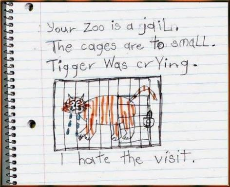 Your Zoo Is A Jail The Cages Are To Small Tigger Was Crying I Hate The Visit