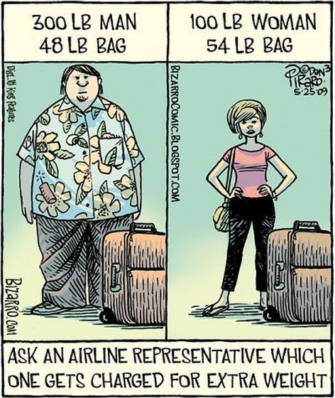 300 LB Man 48 Lb Bag 100 Lb Woman 54 Lb Bag Ask An Airline Representative Which One Gets Charged For Extra Weight