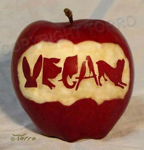 Carved Apple Art Vegan
