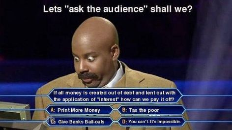 Let's Ask The Audience Shall We If All Money Is Created Out Of Debt