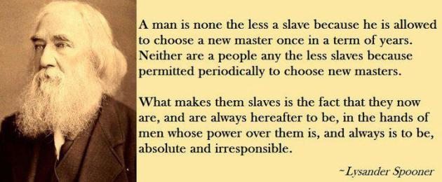Lysander Spooner A Man Is None The Less Slave