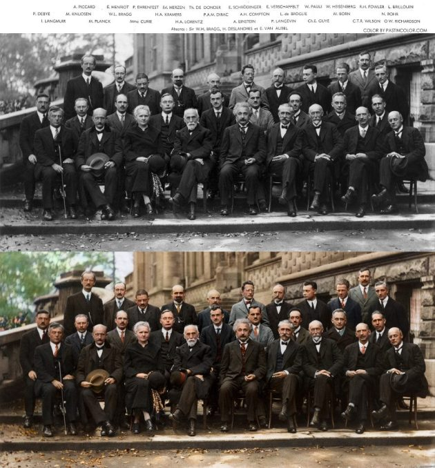 Scientist Old Group Photo Black & White To Color