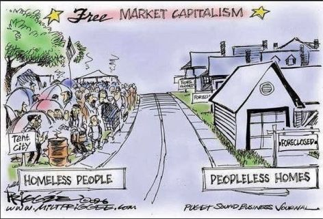 Free Market Capitalism Homeless People Peopleless Homes Tent City Foreclosed