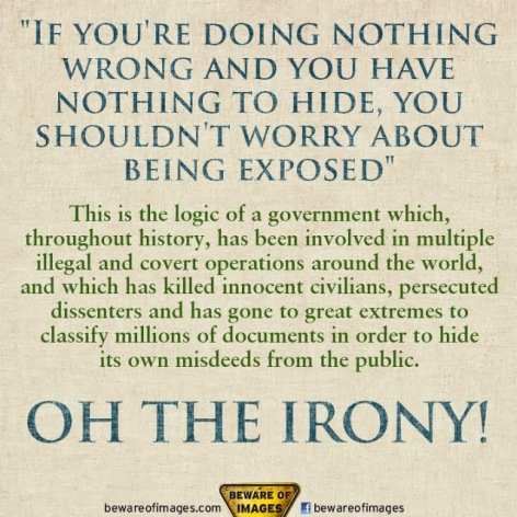 If You're Doing Nothing Wrong And You Have Nothing To Hide You Shouldn't Worry About Being Exposed