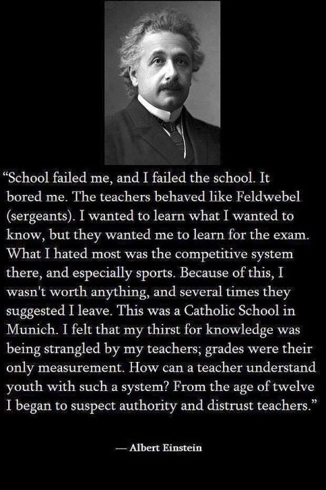 Albert Einstein School Failed Me And I Failed School