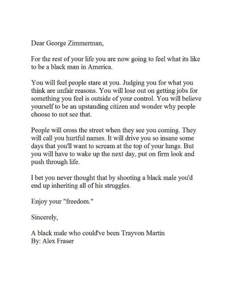 Alex Fraser Dear George Zimmerman