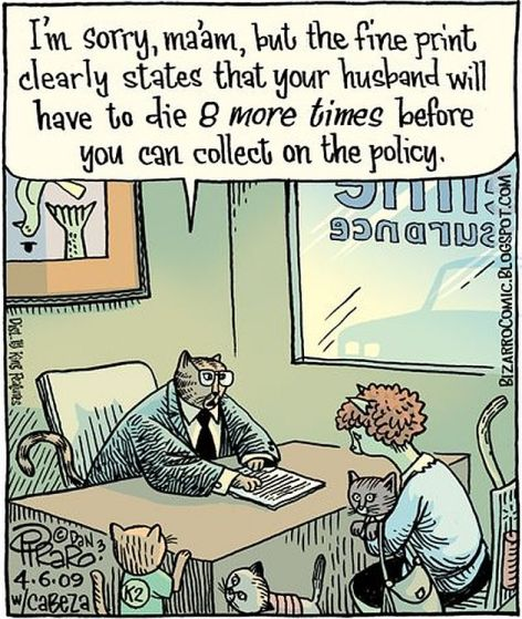 I'm Sorry Ma'am But The Fine Print Clearly States That Your Husband Will Have To Die 8 More Times Before You Can Collect On The Policy