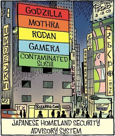 Japanese Homeland Security Advisory System Godzilla, Mothra, Rodan, Gamera, Contaminated Sushi
