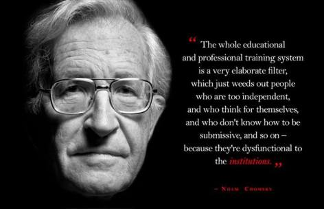 Noam Chomsky The Whole Educational And Professional Training System Is A Very Elaborate Filter