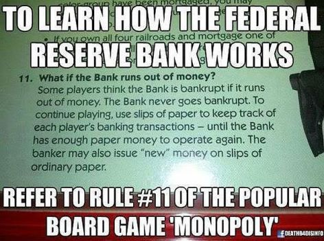 To Learn How The Federal Reserve Bank Works Refer To Rule #11 Of The Popular Board Game Monopoly
