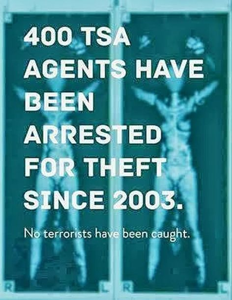 400 TSA Agents Have Been Arrested For Theft Since 2003 No Terrorists Have Been Caught
