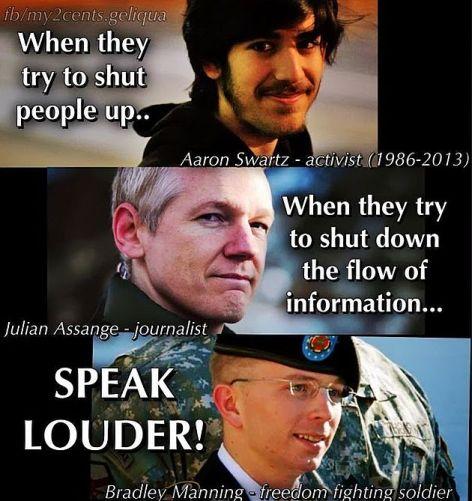 Aaron Swartz, Julian Assange, Bradley Manning