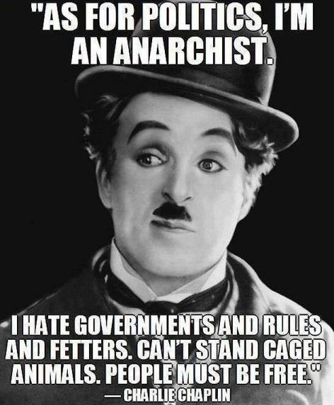 Charlie Chaplin As For Politics I'm An Anarchist