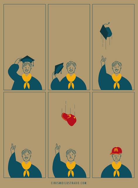 Graduate Throws Cap Up In The Air And A McDonald's Employee Hat Comes Back Down