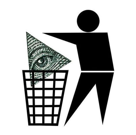 Man Thowing Money In Trash