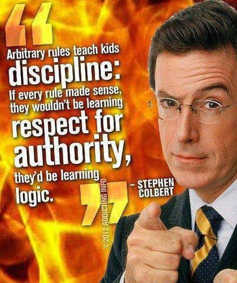 Stephen Colbert Arbitrary Rules Teach Kids Discipline