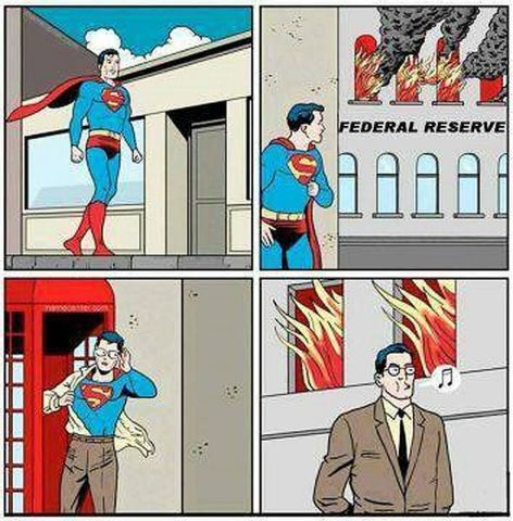 Superman Changes To Clark Kent To Avoid Putting Out Federal Reserve Fire