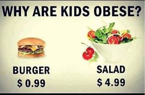 Why Are Kids Obese Burger $0.99 Salad $4.99