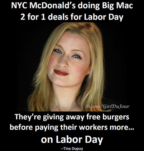 Tina Dupuy NYC McDonald's Doing Big Mac 2 For 1 Deals For Labor Day
