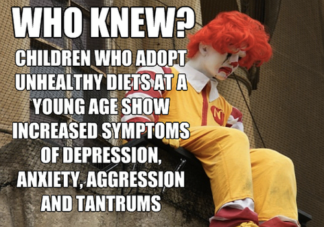 Who Knew Children Who Adopt Unhealthy Diets At A Young Age Show Increased Symptoms Of Depression, Anxiety, Aggression And Tantrums