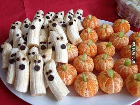 Banana Ghosts Orange Pumpkins Fun Healthy Halloween Fruit Snacks