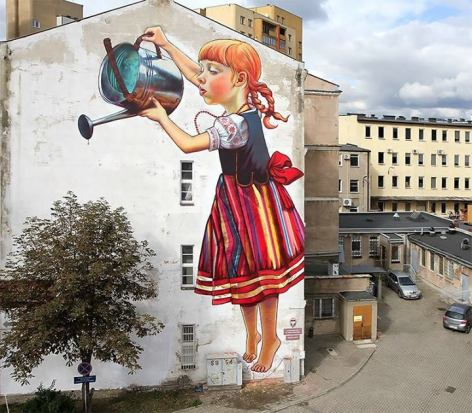 By Polish Artist Natalia Rak Wall Art Little Girl With Watering Can Watering a Tree