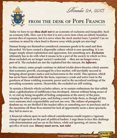 From The Desk Of Pope Francis