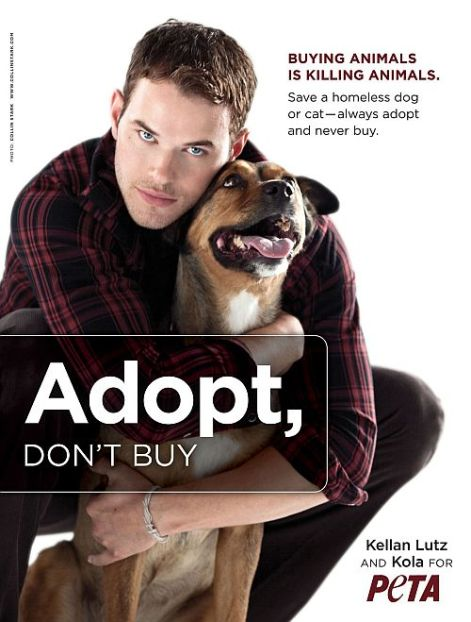 'Twilight' hunk Kellan Lutz in PETA's 'Adopt, Don't Buy' campaign